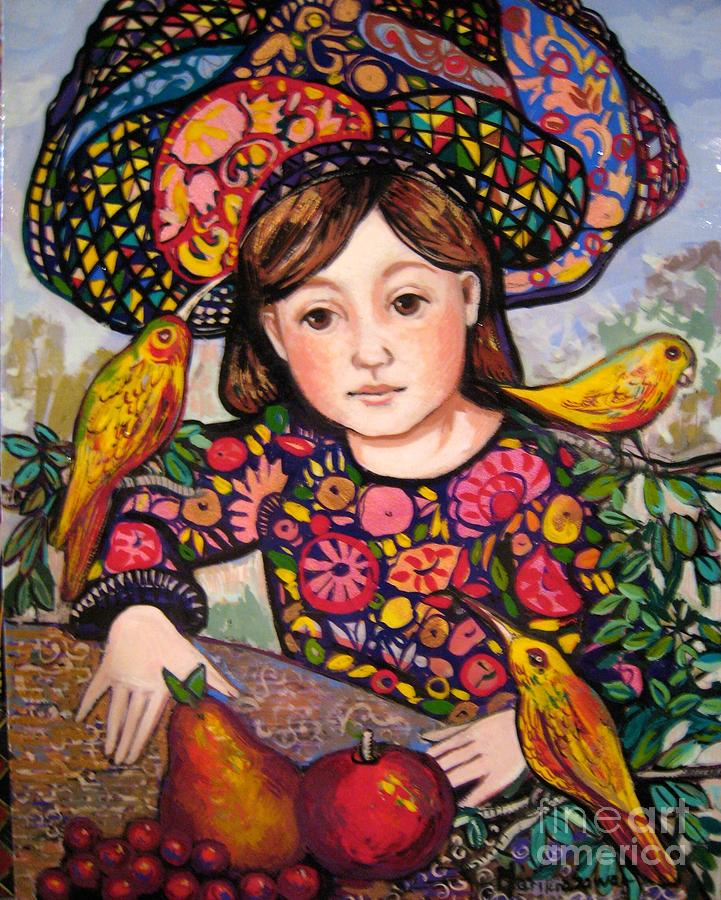 Medieval Painting - Madeline with flowers and birds by Marilene Sawaf