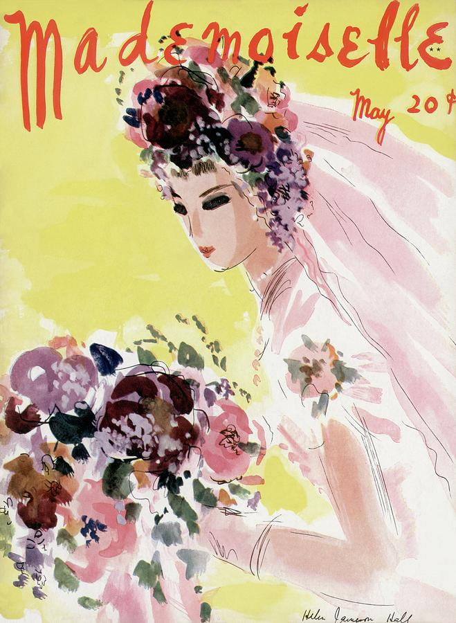 Mademoiselle Cover Featuring A Bride Photograph by Helen Jameson Hall