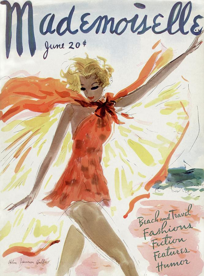 Mademoiselle Cover Featuring A Model At The Beach Painting by Helen Jameson Hall