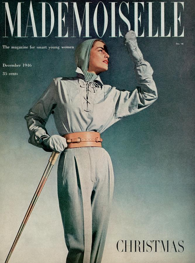 Mademoiselle Cover Featuring A Model In A Ski Photograph by Gene Fenn