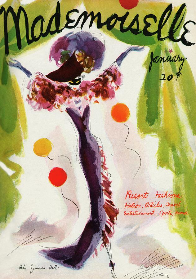 Mademoiselle Cover Featuring A Model Wearing Photograph by Helen Jameson Hall