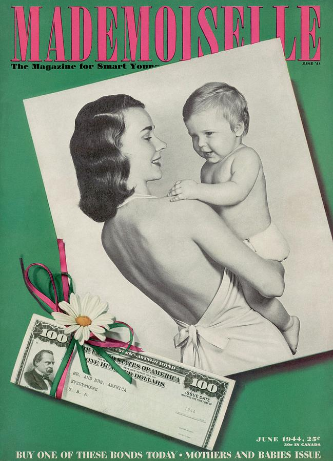 Mademoiselle Cover Featuring A Mother Holding Photograph by Fernand Fonssagrives