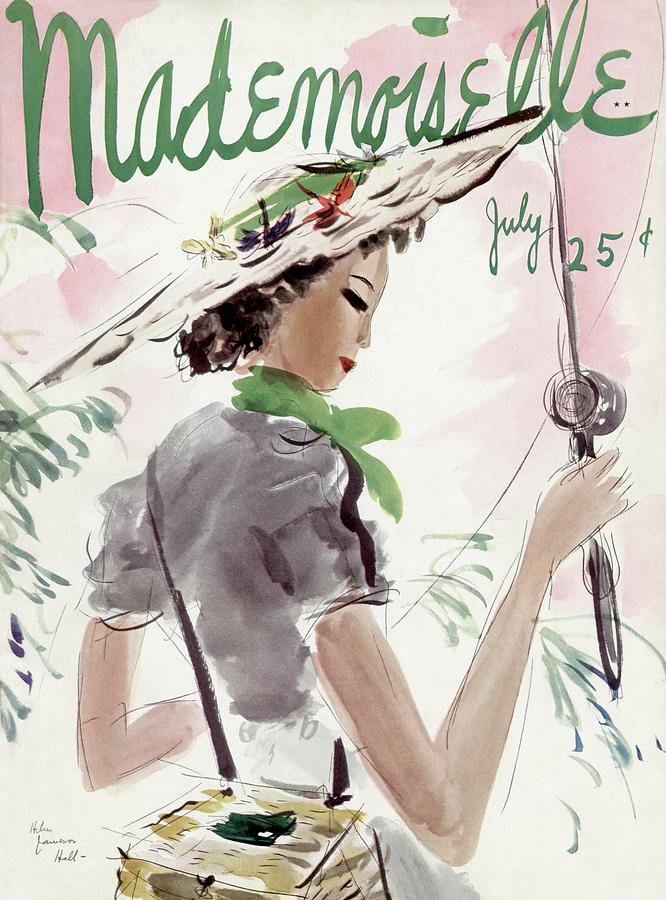 Mademoiselle Cover Featuring A Woman Holding Photograph by Helen Jameson Hall