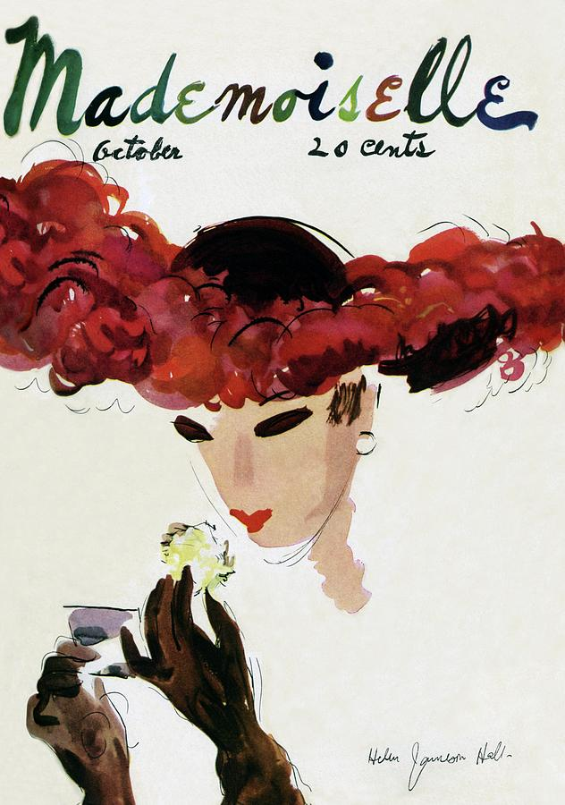 Mademoiselle Cover Featuring A Woman In A Red Photograph by Helen Jameson Hall