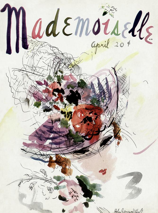 Mademoiselle Cover Featuring An Illustration Photograph by Helen Jameson Hall