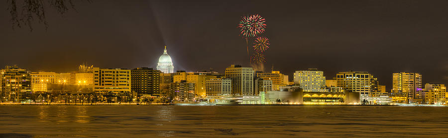 Madison Skyline New Years Eve Photograph by Steven Ralser