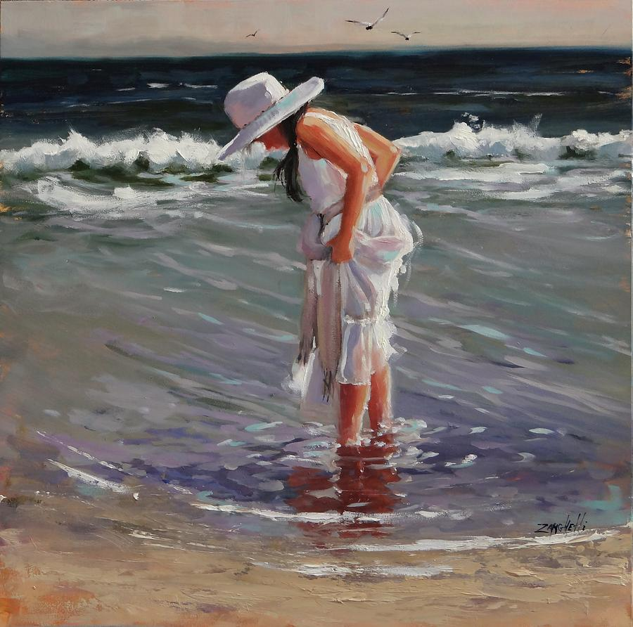 Beach Painting - Madison Study 2 by Laura Lee Zanghetti
