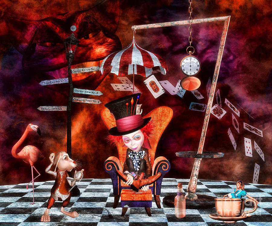 Wonderland Digital Art - Madness In The Hatters Realm by Putterhug  Studio