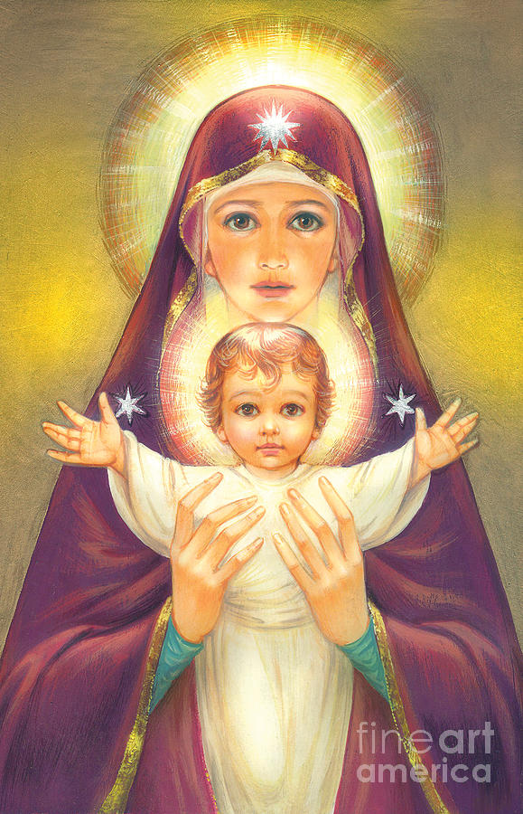 Mother Of God Digital Art - Madonna And Baby Jesus by Zorina Baldescu