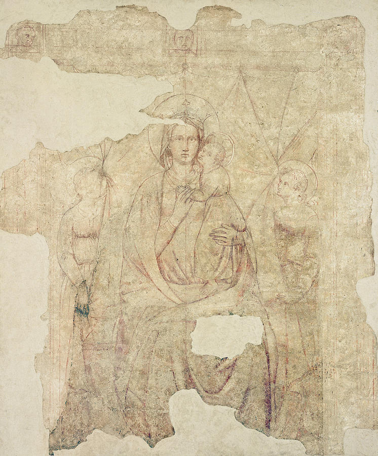 Virgin Photograph - Madonna And Child Enthroned, Drawing For A Fresco Sinopia On Paper by Paolo di Stefano Badaloni Schiavo