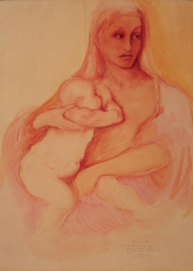 Madonna Drawing - Madonna And Child by Herschel Pollard