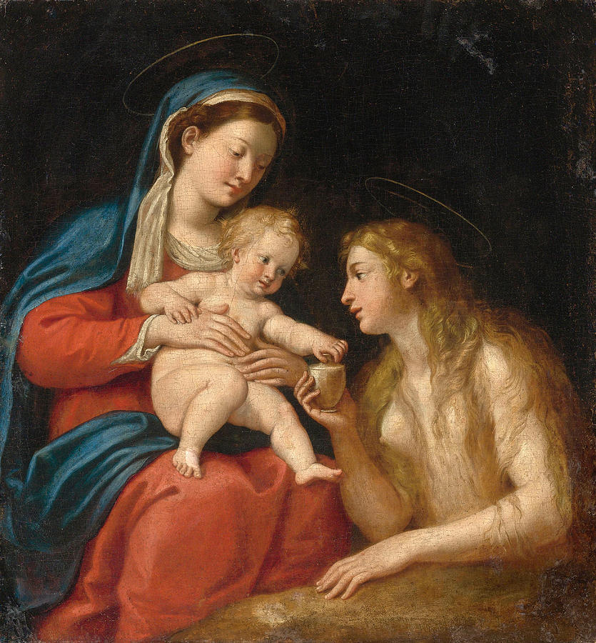 Francesco Albani Painting - Madonna And Child With Mary Magdalene  by Francesco Albani