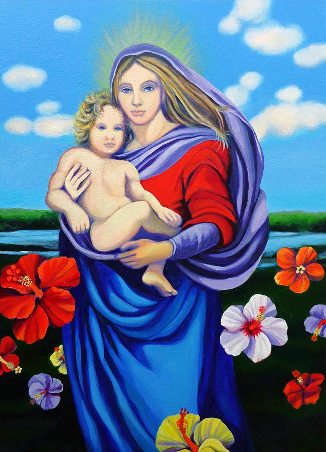 Background Landscape Painting - Madonna Rafaelina by Kyra Belan