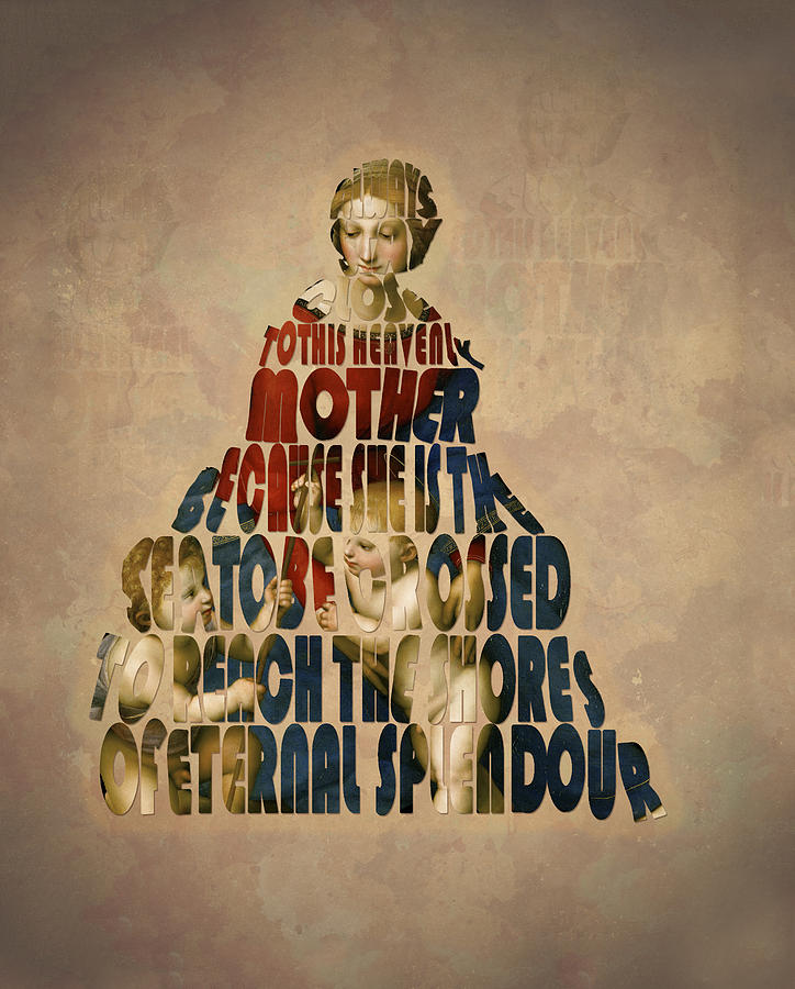 Raphael Painting - Madonna Typography Artwork by Georgeta Blanaru