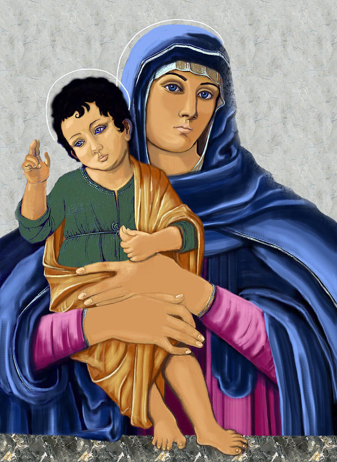 Madonna And Child Painting - Madonna With Child Blessing by Karon Melillo DeVega