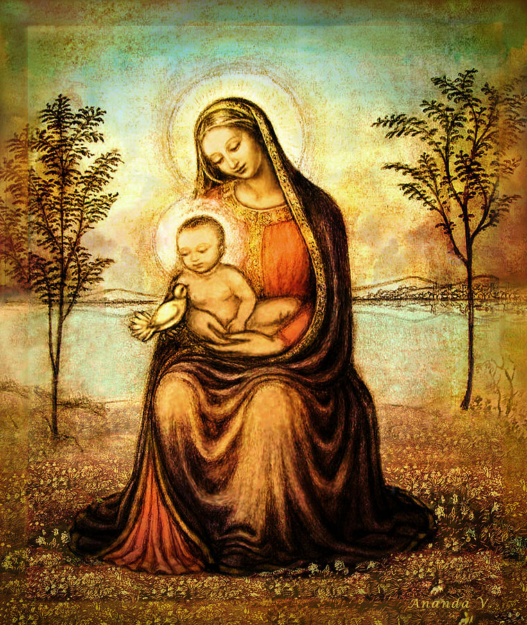 Mother And Child Drawing Mixed Media - Madonna With The Dove by Ananda Vdovic