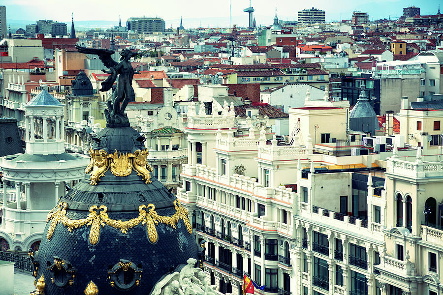 Madrid  Rooftops From The Gran Via Photograph by Nicolamargaret
