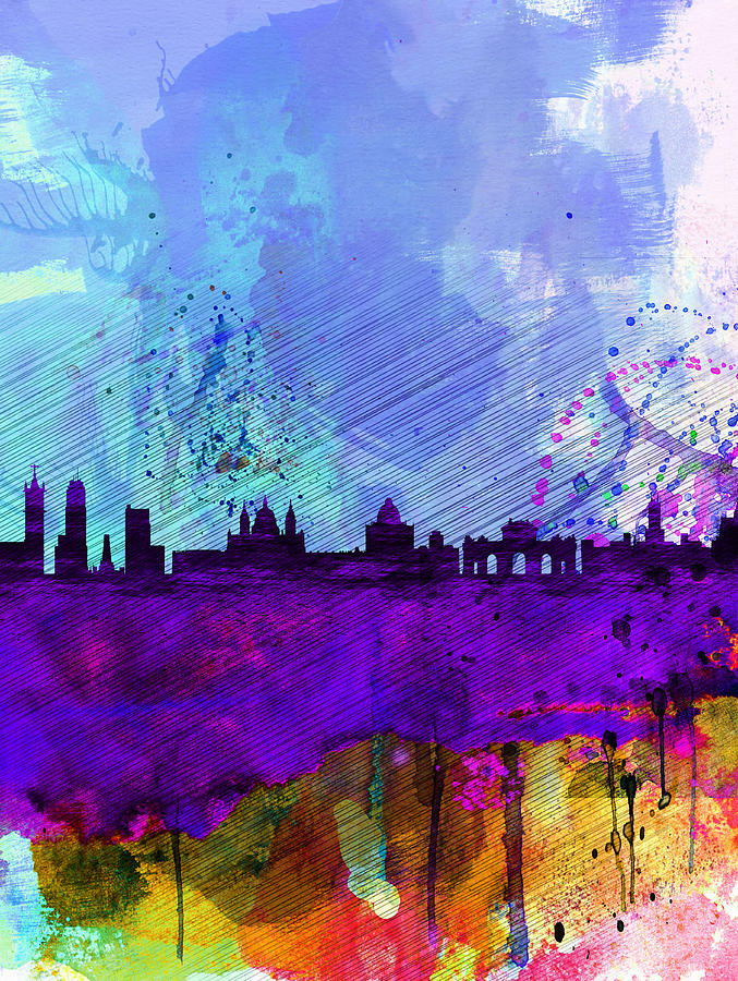 Madrid Painting - Madrid Watercolor Skyline by Naxart Studio