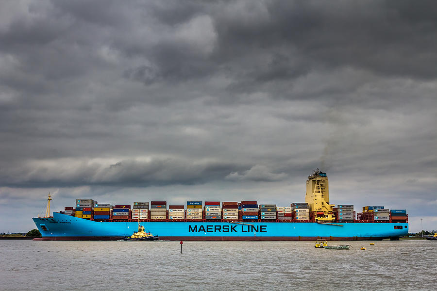 River Photograph - Maersk Container Ship. by Gary Gillette