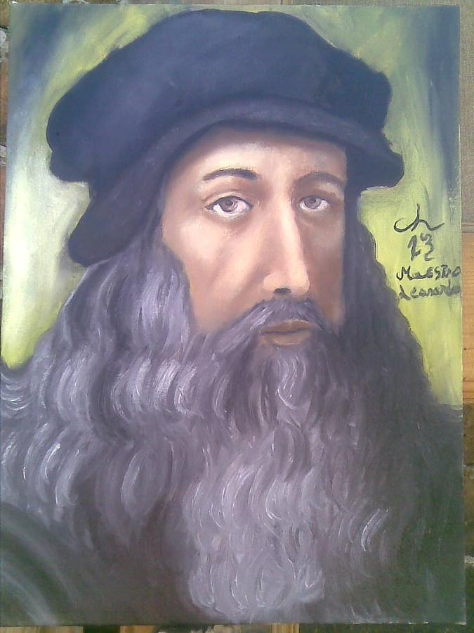 Portret Painting - Maestro Leonardo by Lazar Caran