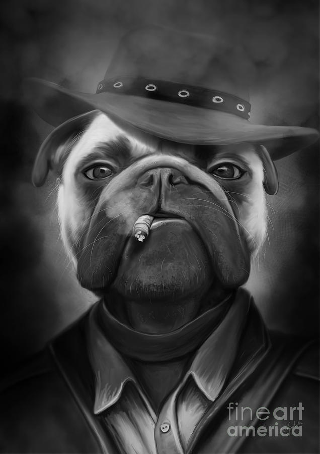 Digital Painting Painting - Mafia Dog by Ivan  Pawluk