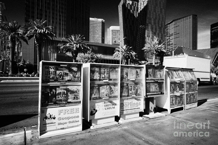 Magazine Photograph - magazine stands free coupons guides and escort directories Las Vegas Nevada USA by Joe Fox
