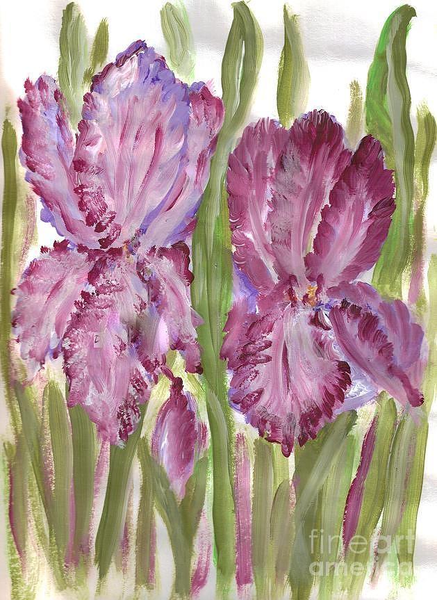 Purple Painting - Magenta Iris by Debbie Wassmann