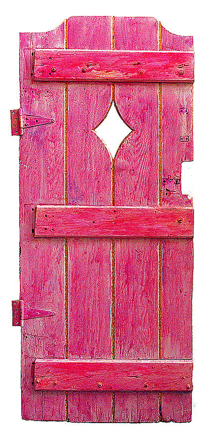 Found Object Sculpture - Magenta Pink Painted Garden Door by Asha Carolyn Young