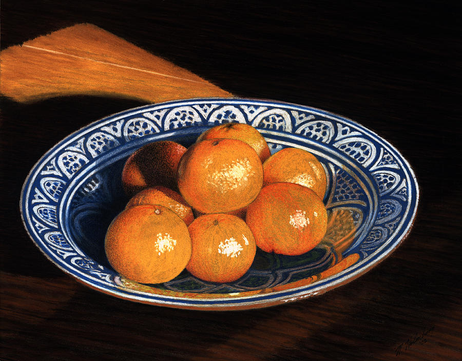 Stillife Drawing - Maggies Oranges by Norm Holmberg