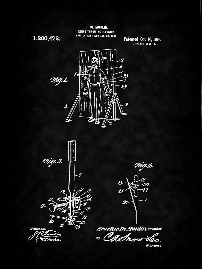 Magic Digital Art - Magic - 1916 Knife Trowing Illusion Patent by Barry Jones