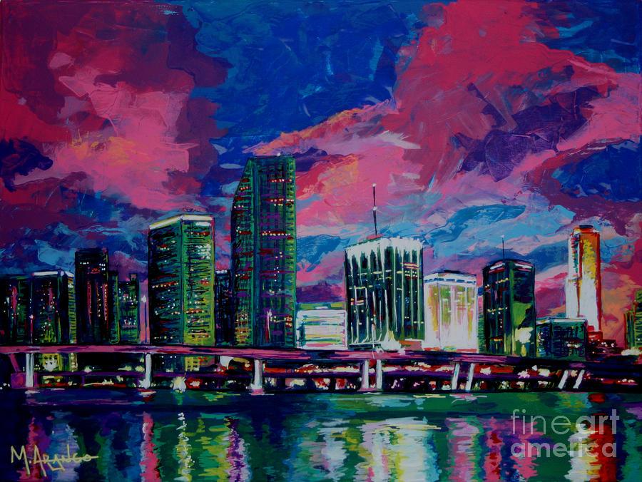 Miami Painting - Magic City by Maria Arango