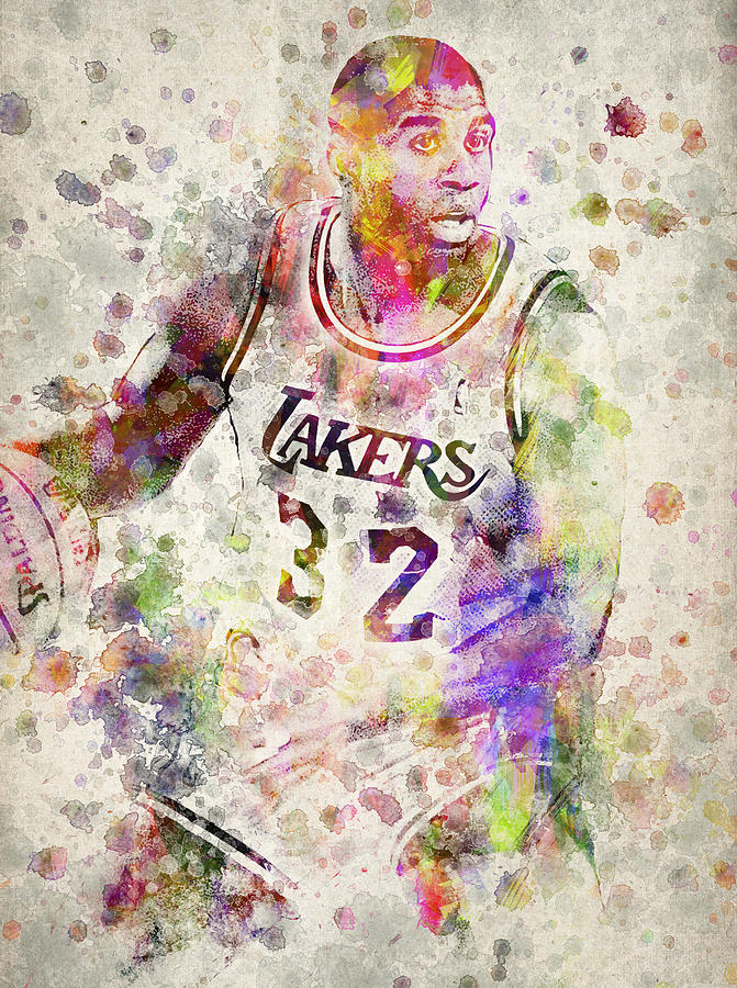 Magic Johnson Digital Art - Magic Johnson by Aged Pixel