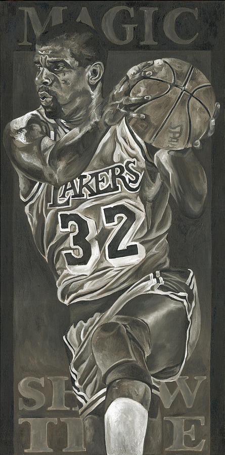 Magic Johnson Painting - Magic Johnson - Legends Series by David Courson