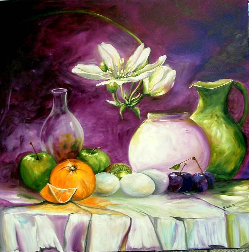 Life Style Painting - Magic Table With 3 Wishes by Elizabeth Kawala