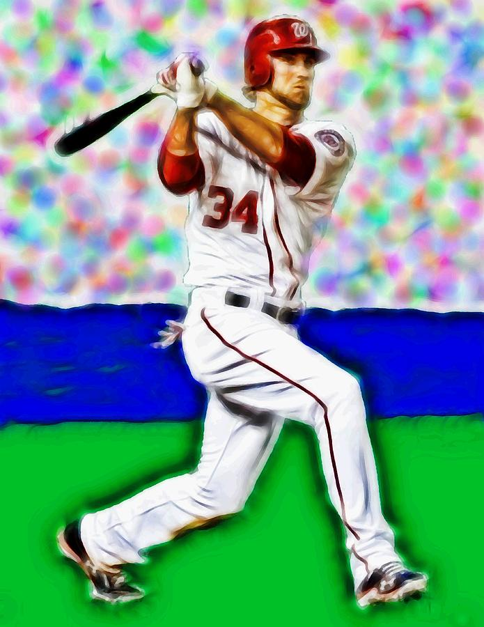 Washington Nationals Painting - Magical Bryce Harper Connects by Paul Van Scott