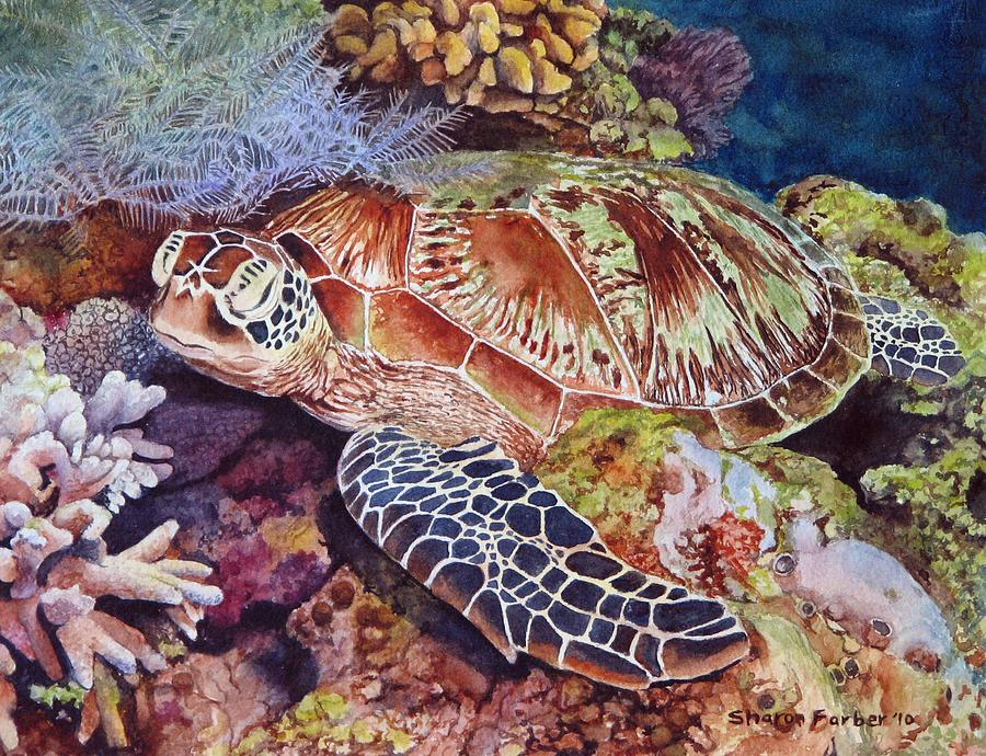 Sea Turtle Painting - Magical Sea Turtle by Sharon Farber