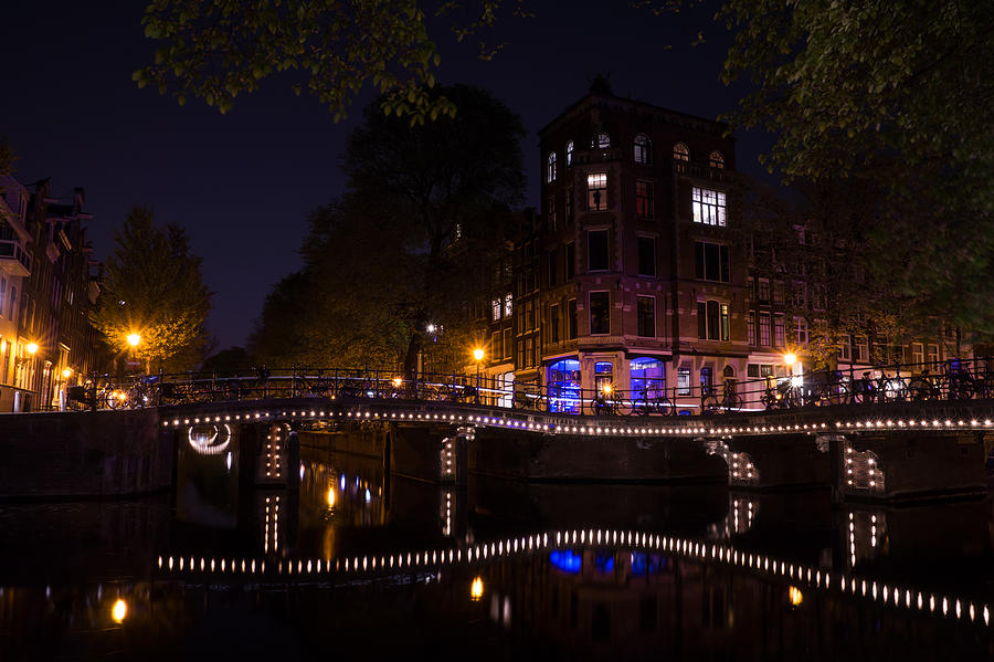 Amsterdam Photograph - Magical Sparkling Amsterdam Canals And Bridges At Night by Georgia Mizuleva