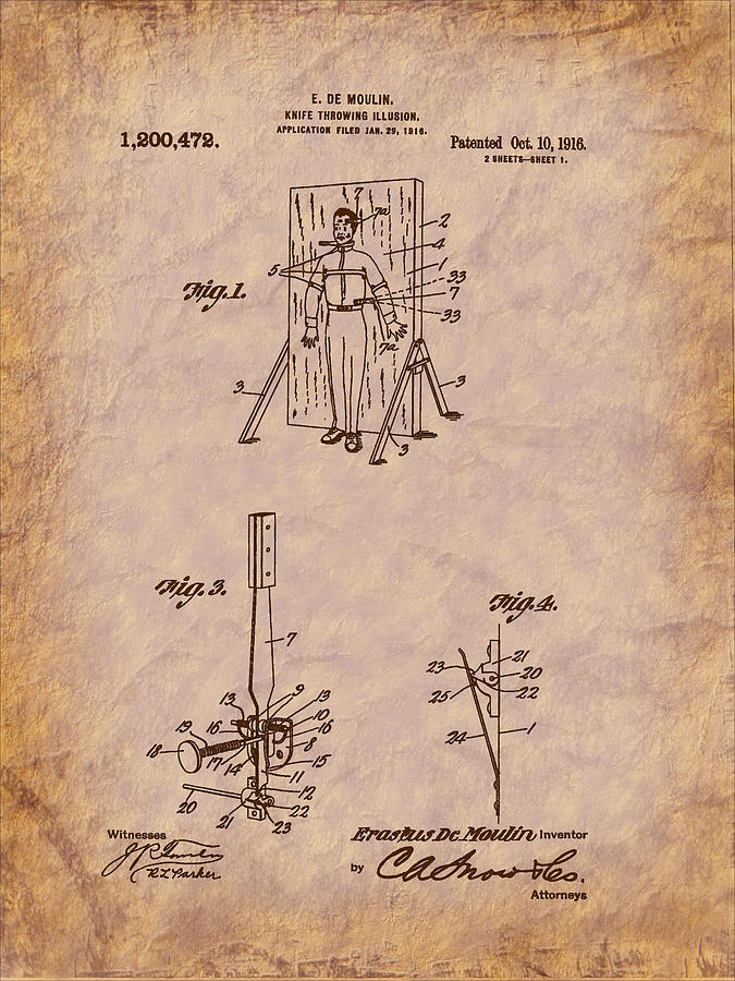 Magic Digital Art - Magician - 1916 Knife Trowing Illusion Patent by Barry Jones