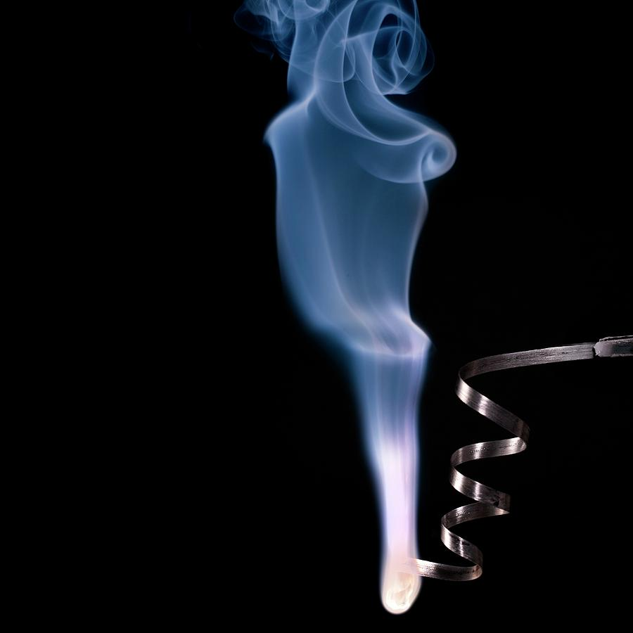 Alkaline Earth Photograph - Magnesium Ribbon Burning In Air by Science Photo Library