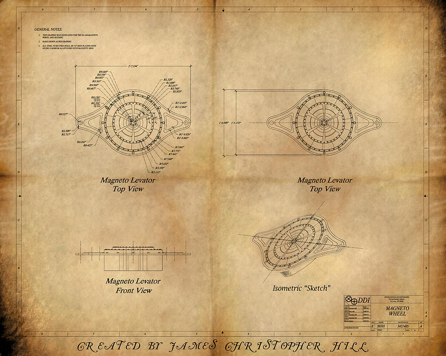 Steam Painting - Magneto System Blueprint by James Christopher Hill