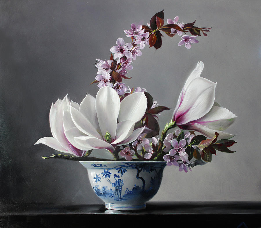 Flowers Painting - Magnolia And Apple Blossem by Pieter Wagemans
