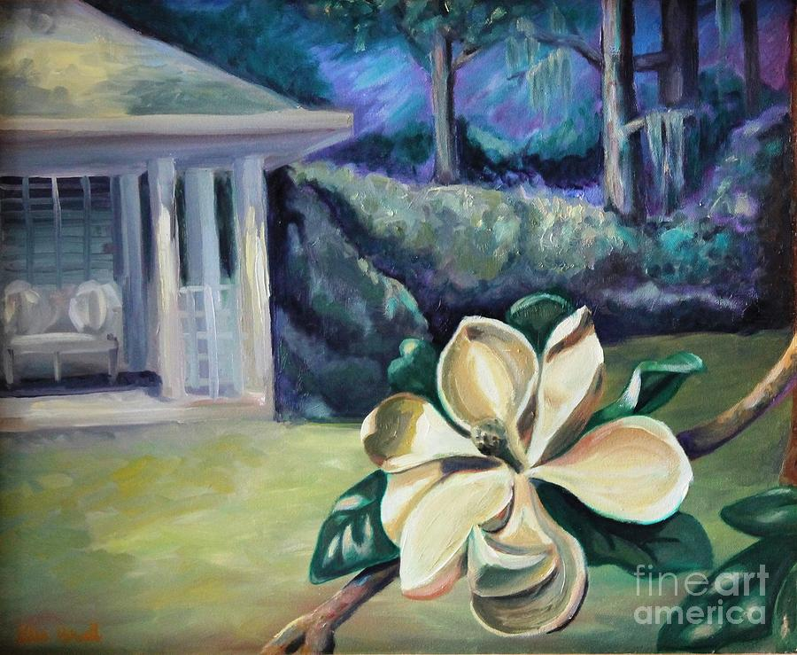 Landscape Painting - Magnolia In Moonlight by Ellen Howell