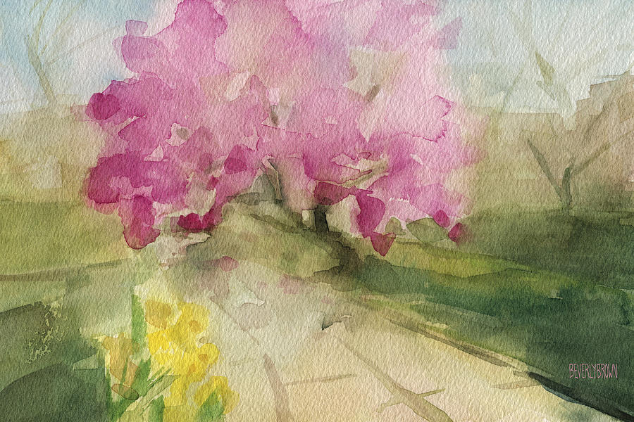 Landscape Painting - Magnolia Tree Central Park Watercolor Landscape Painting by Beverly Brown Prints
