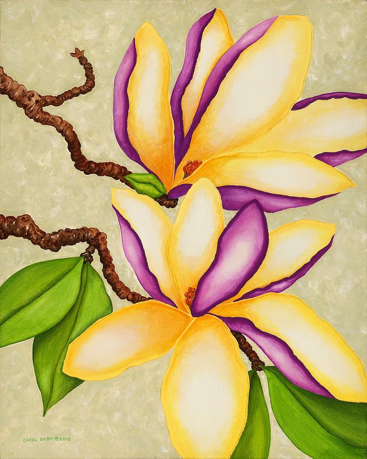 Purple Painting - Magnolias by Carol Sabo