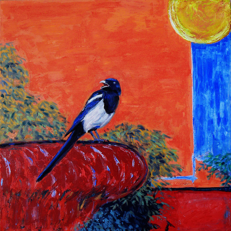 Magpie Painting - Magpie Singing At The Bath by Xueling Zou