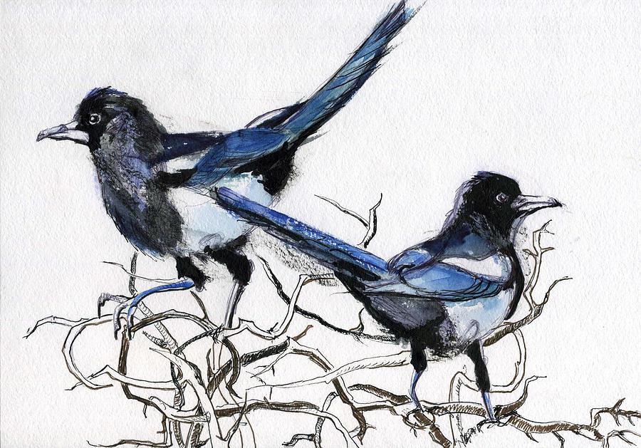 Birds Mixed Media - Magpies by Lelia Sorokina