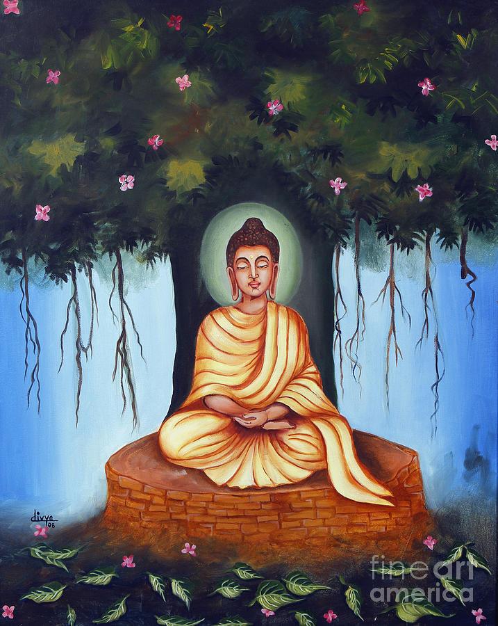 mahatma budh image  Mahatma Buddha Painting by Divya Kakkar