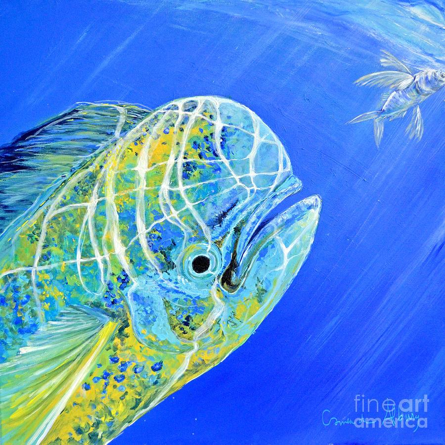 Mahi Painting - Mahi Mahi And Flying Fish by Paola Correa de Albury