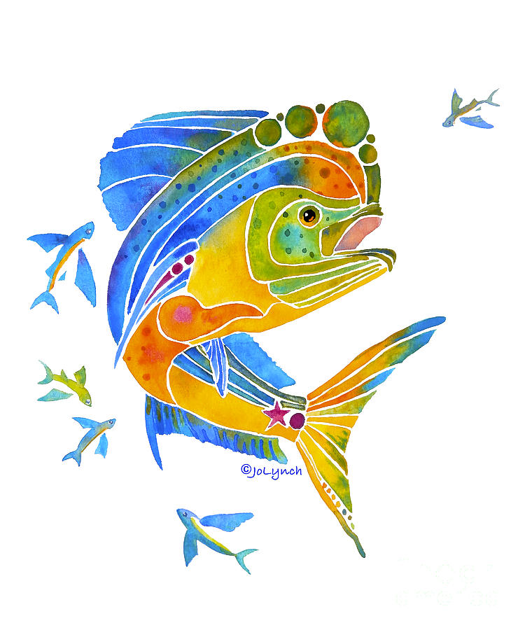 Mahi Saltwater Fish Art Gifts by Jo Lynch