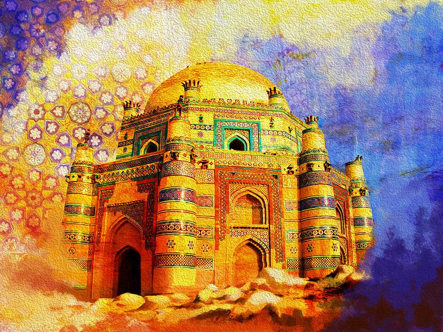 Pakistan Painting - Mai Jwandi Tomb On Makli Hill by Catf